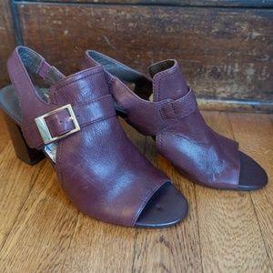 Maroon Open Toe Heels